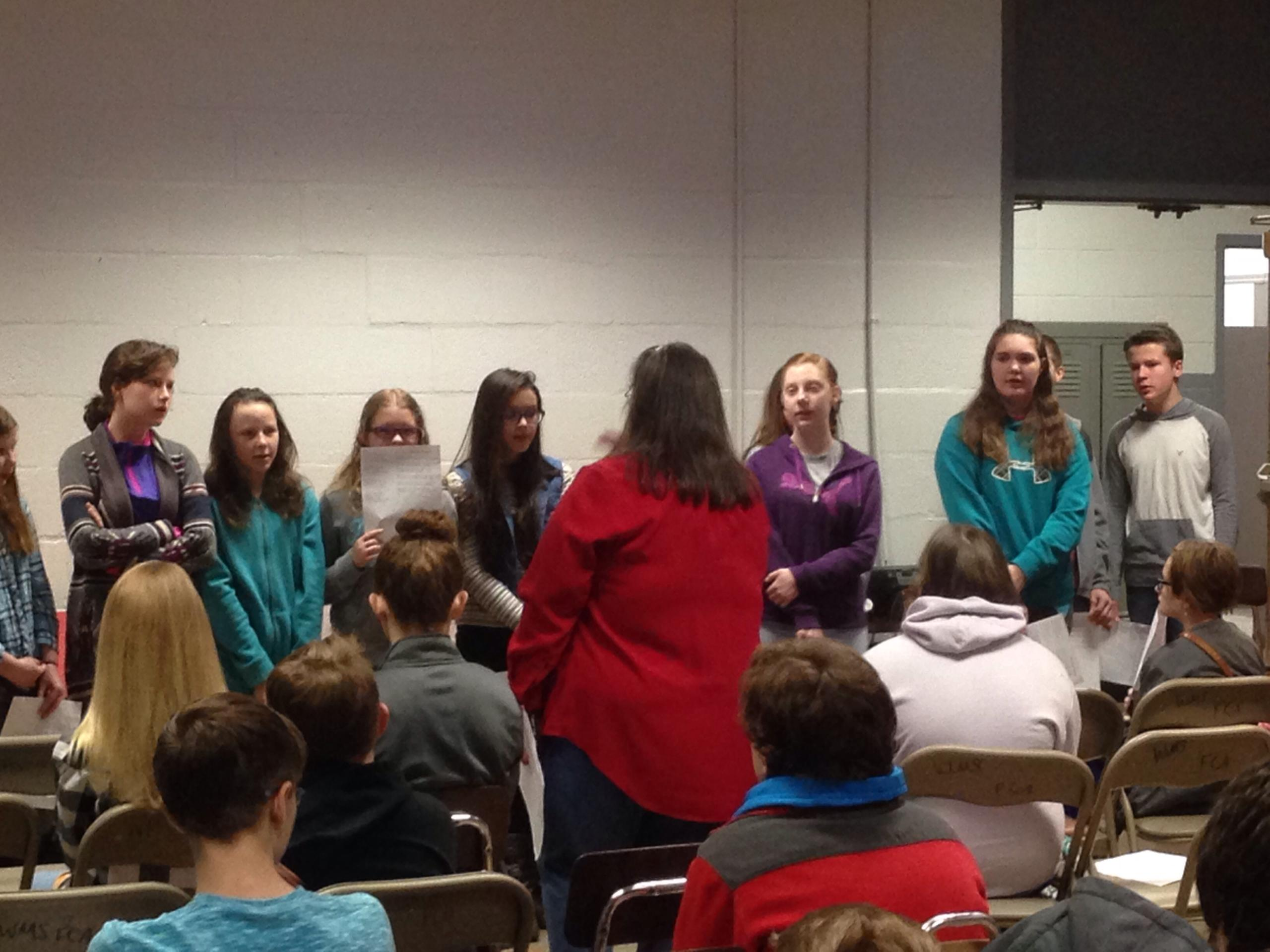 The WMS Choir ... sings at the Friday morning FCA