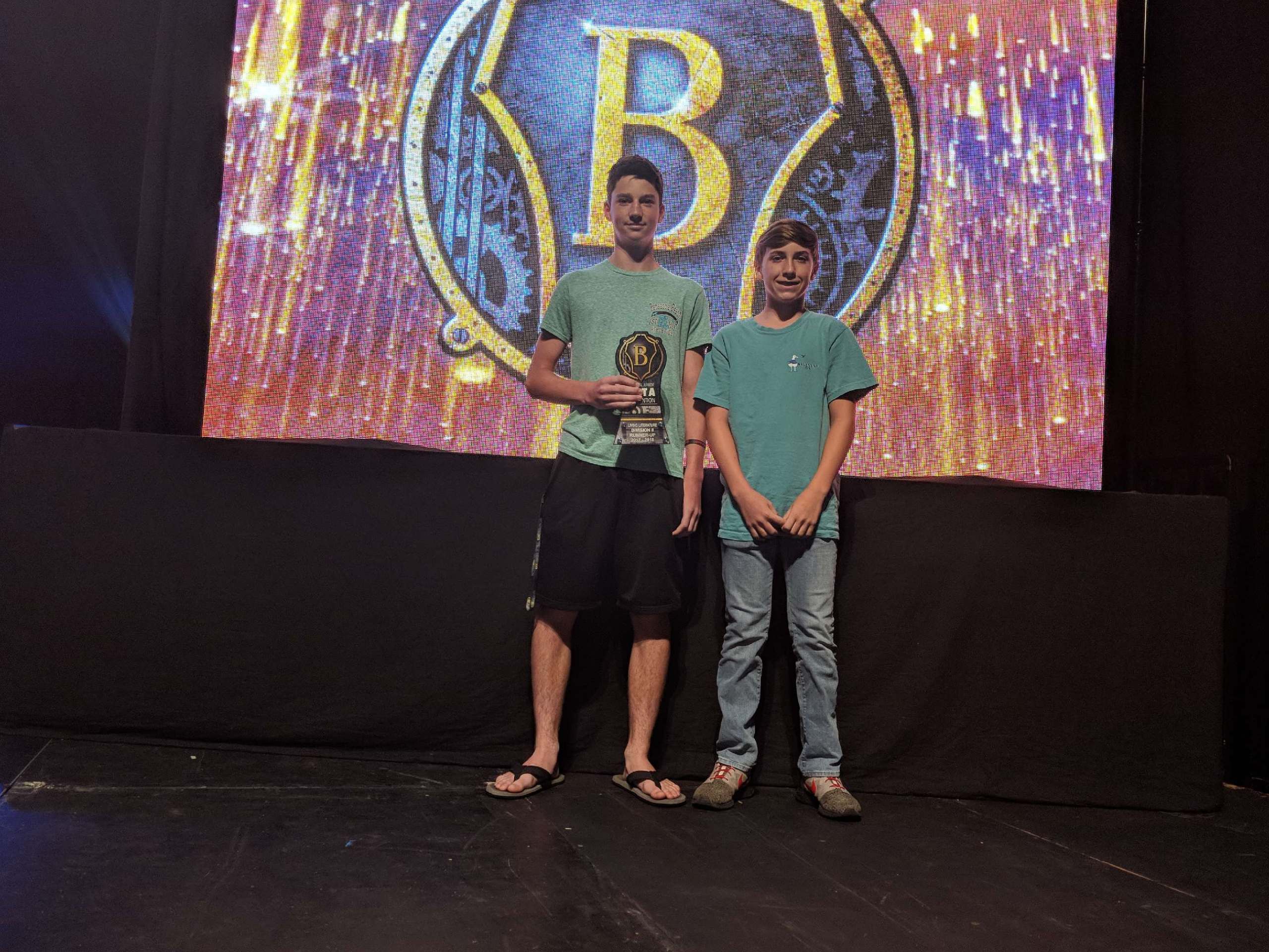Kody & Zach Accept Award ... or the Living Literature Team placing 2nd in the 2018 National Junior Beta Club Academic Convention in Savannah, Georgia.  (06/15)