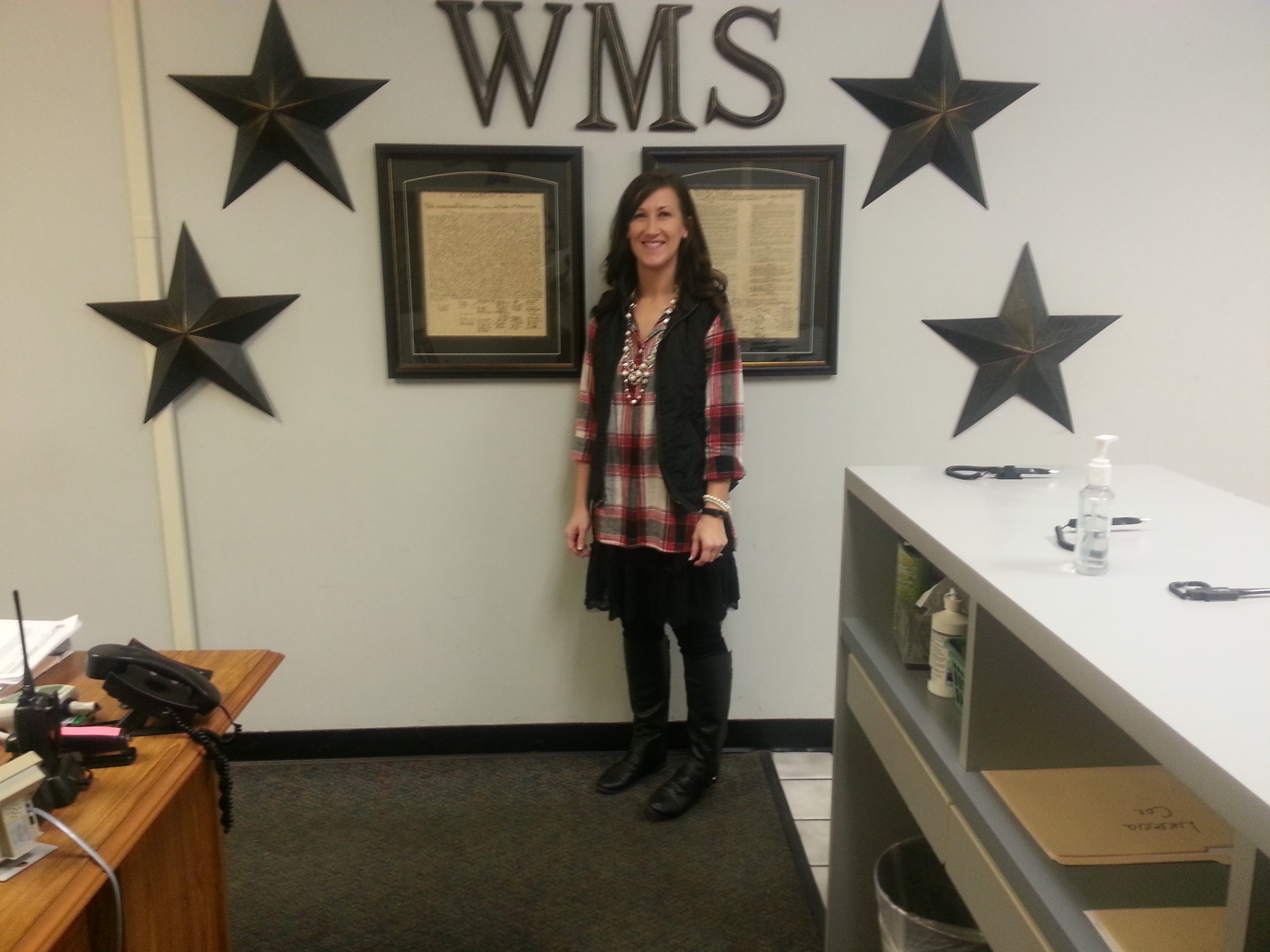 The WMS Teacher of the Year ... s Mrs. Donielle Walker.  Mrs. Walker is an 8th grade science teacher at WMS.  CONGRATULATIONS Mrs. Walker!!!  (01/09)