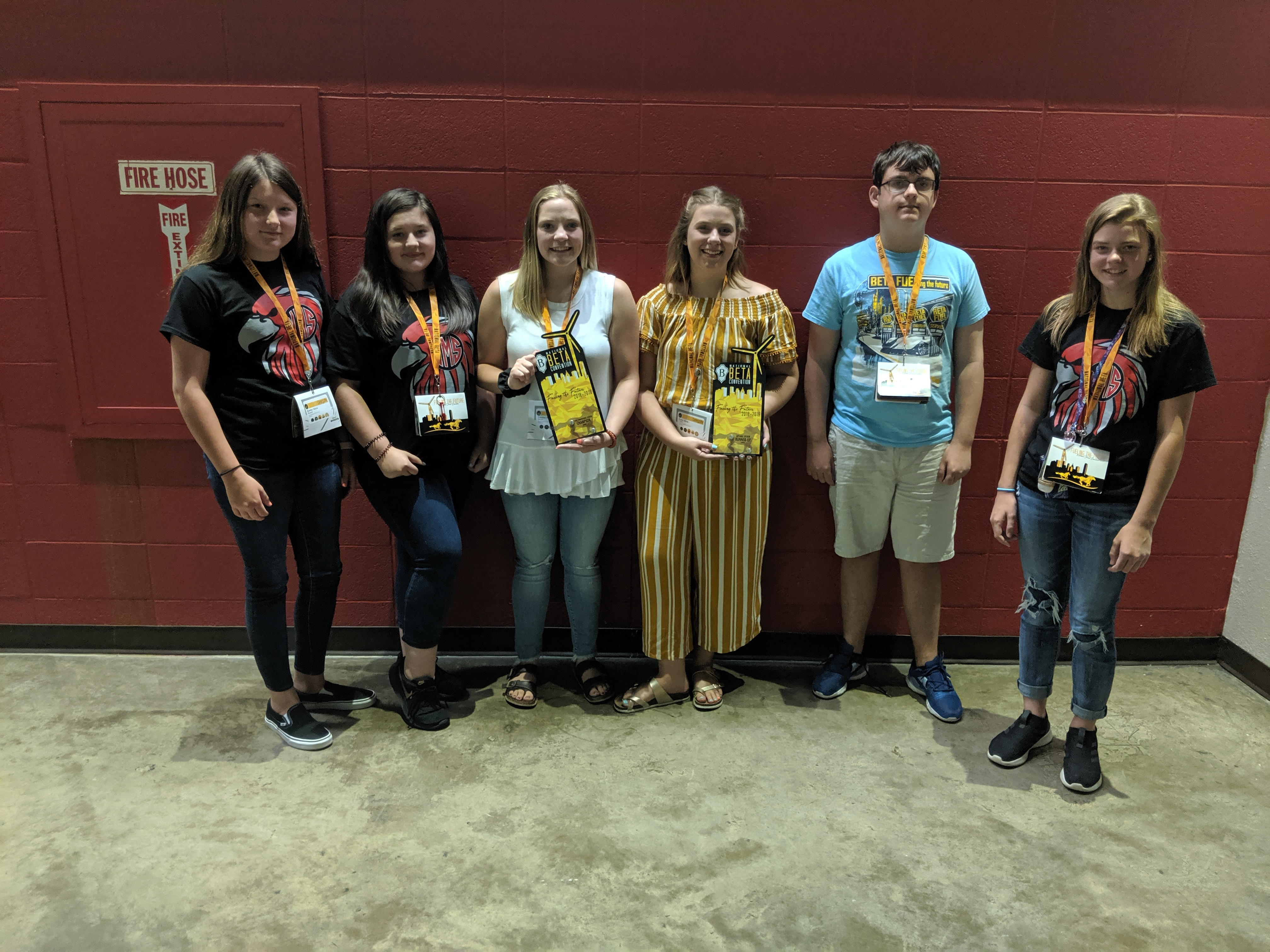 WMS Jr. Beta Club Members ... recently attended the 2019 Jr. Beta Club National Convention and Academic Team Competition.  Members attending were (left to right) Kinsley Burnett, Haleigh Webb, Tabitha Smith, Lana Clark, John-Paul Lockhart, and Kyla Urell.  The Club placed as follows:  National Champion--Three-dimensional Design, National Runner-up--Apparel Design & Visual Arts, and National Finalist--Marketing and Communication Leadership Presentation.  (06/16)