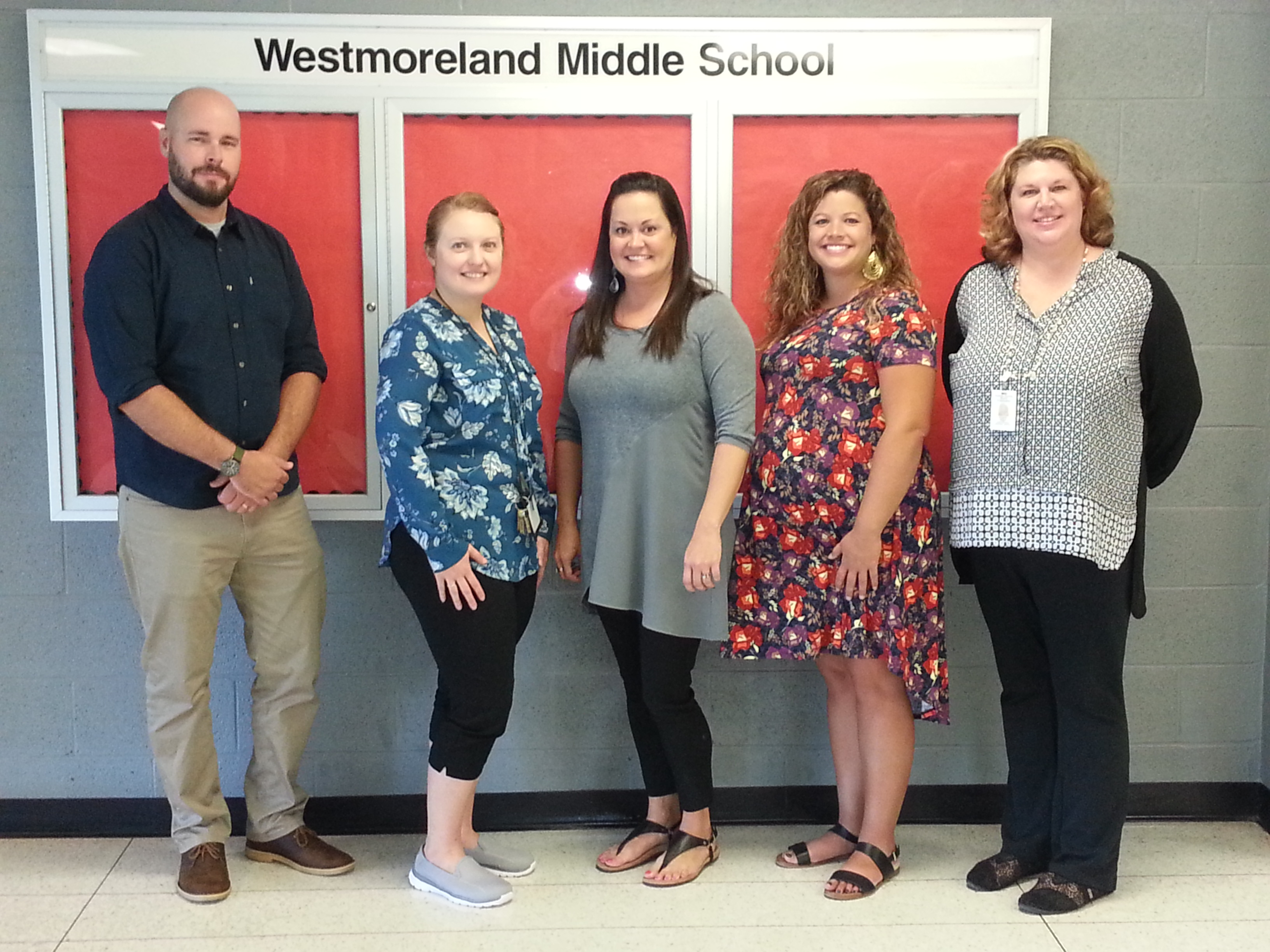 New Staffulty At WMS ... Johnathan Petersen--6th grade social studies, Lauren Werbowsky--Gifted Itinerent Teacher, Leigh Potts--6th grade math, Natalie Patterson--school nurse, and Angela Nagel--Lead Educator.  (09/11)
