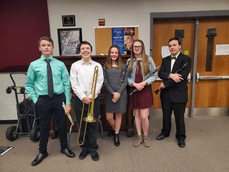 WMS Band Members ... participate in the All County Band.  (02/21)