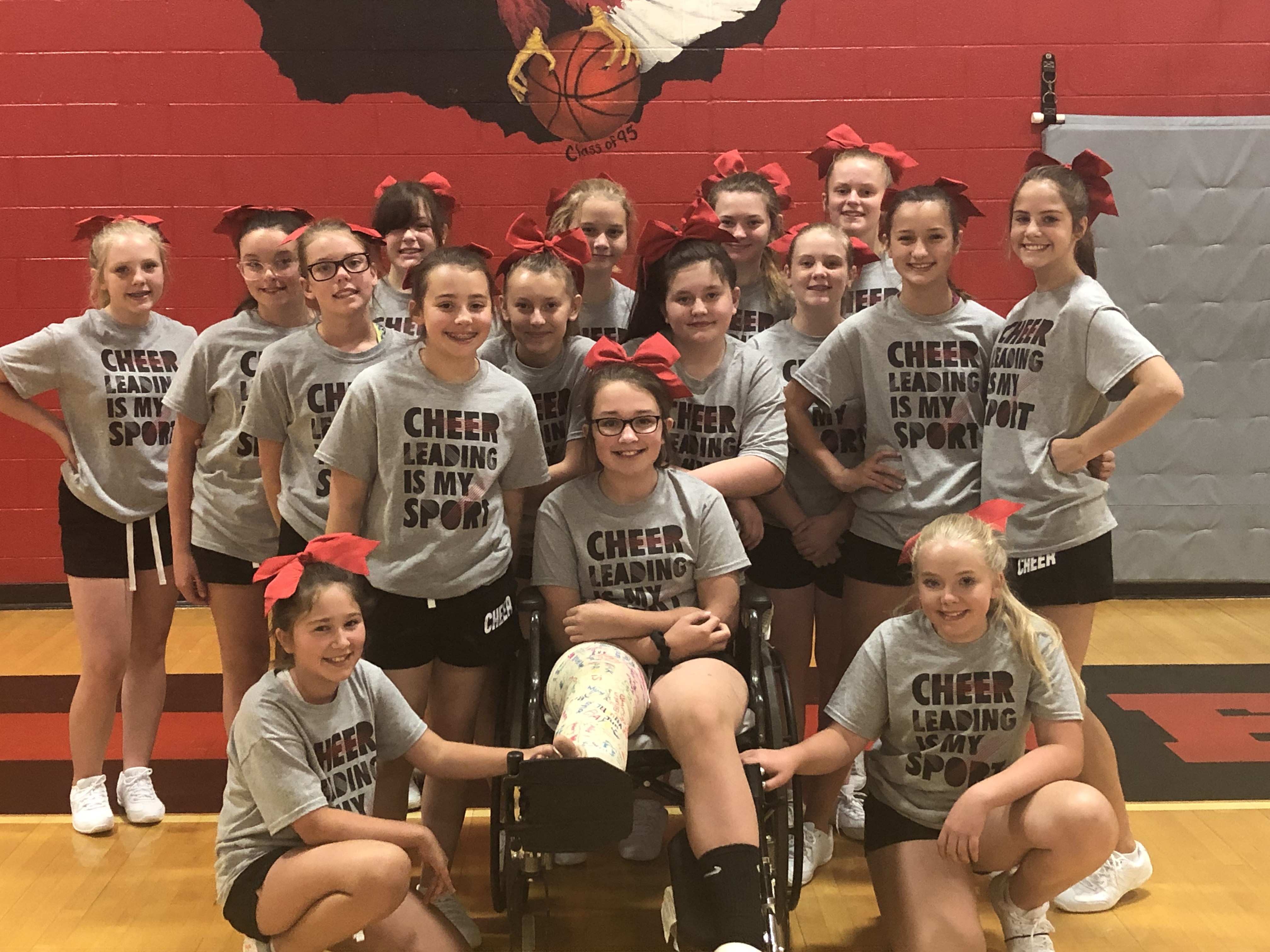 The WMS Cheer Team ... participates in a 1 day camp in preparation for 19-20.  (06/21)
