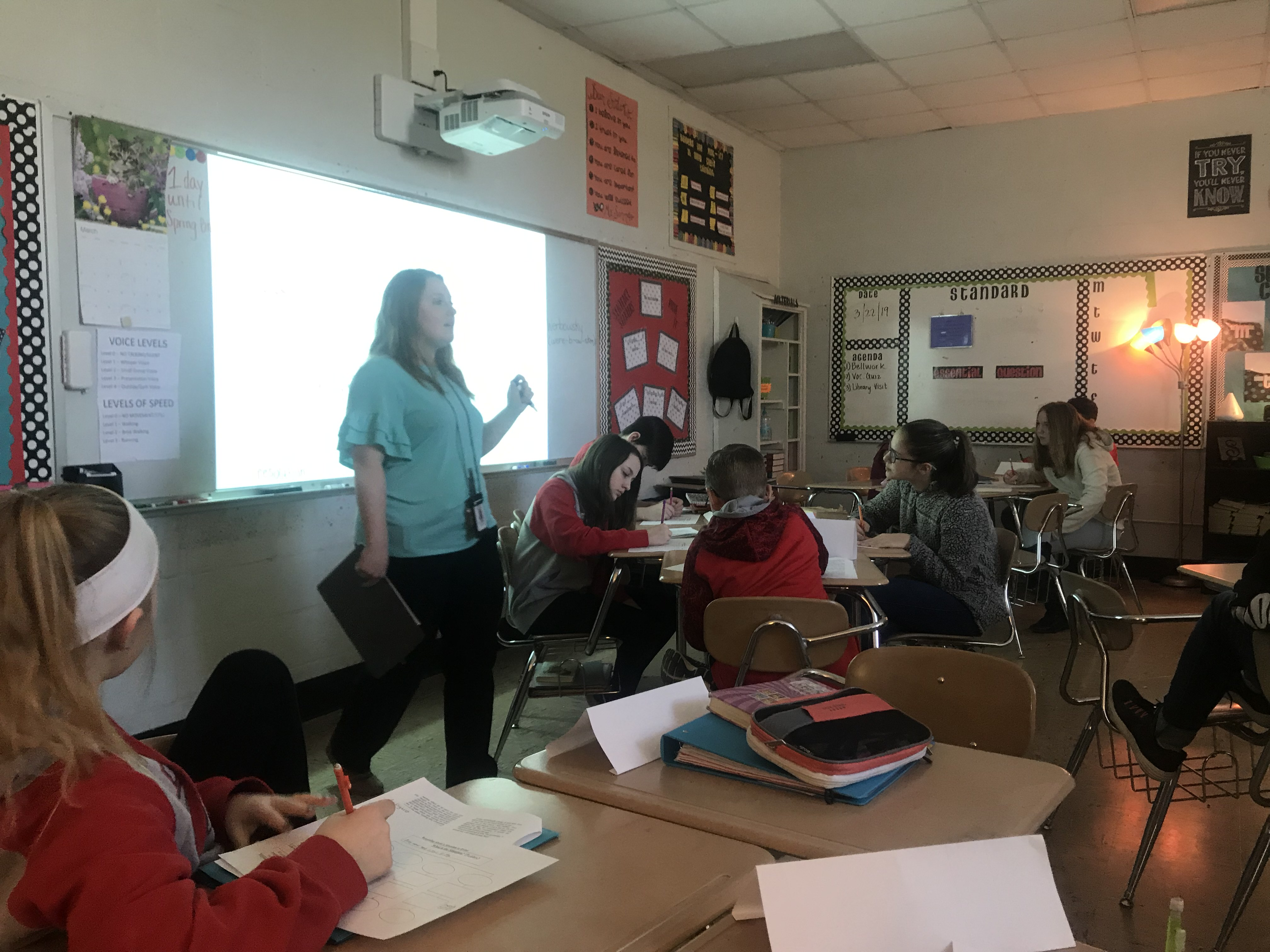 6th Grade ELA ... where Mrs. Werbowsky is providing an enrichment intervention with students.  (03/22)